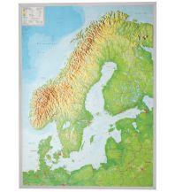 Reliefkarten Georelief 3D Reliefkarte - Skandinavien mit Alurahmen 1:2.900.000 georelief GbR