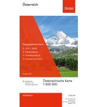 Topographische Karte ÖK500, Österreich physisch - gefaltet 1:500.000 BEV – Bundesamt für Eich- und Vermessungswesen