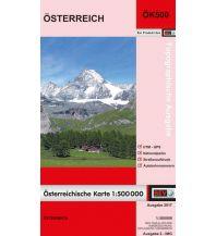 Poster und Wandkarten Bundesamtskarte Plano in Rolle - Österreich physisch 1:500.000 BEV – Bundesamt für Eich- und Vermessungswesen