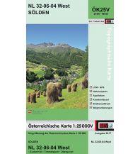 Wanderkarten Tirol BEV-Karte 2104-West, Sölden 1:25.000 BEV – Bundesamt für Eich- und Vermessungswesen