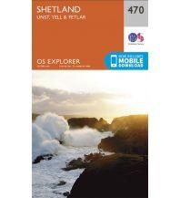 Wanderkarten Britische Inseln OS Explorer Map 470 Großbritannien - Shetland - Unst, Yell & Fetlar 1:25.000 Ordnance Survey