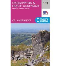 Wanderkarten England OS Landranger Map 191, Okehampton & North Dartmoor 1:50.000 Ordnance Survey