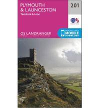 Wanderkarten England OS Landranger Map 201, Plymouth & Launceston 1:50.000 Ordnance Survey
