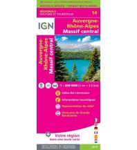 Straßenkarten Frankreich IGN Carte NR14, Auvergne-Rhône-Alpes, Massif central 1:250.000 Institut Geographique National
