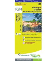 Straßenkarten Frankreich IGN Carte 147 Frankreich - Limoges, Gueret 1:100.000 Institut Geographique National