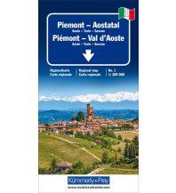 Straßenkarten K+F Italien Regionalkarte 1, Piemont - Aostatal 1:200.000 Hallwag Kümmerly+Frey AG
