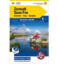 Wanderkarten Schweiz & FL Wanderkarte 24, Zermatt, Saas-Fee, Grächen, Visp, Simplon 1:60.000 Hallwag Kümmerly+Frey AG