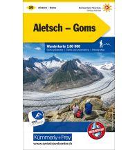 Wanderkarten Schweiz & FL K+F-Wanderkarte 25, Aletsch, Goms 1:60.000 Hallwag Kümmerly+Frey AG