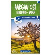 Wanderkarten Schweiz & FL Aargau Ost Lenzburg - Baden 07 Wanderkarte 1:40 000 matt laminiert Hallwag Kümmerly+Frey AG