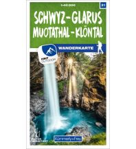 Wanderkarten Schweiz & FL Schwyz - Glarus Muotathal - Klöntal 21 Wanderkarte 1:40 000 matt laminiert Hallwag Kümmerly+Frey AG