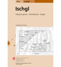 Wanderkarten Tirol Landeskarte der Schweiz 1159, Ischgl 1:25.000 Bundesamt für Landestopographie
