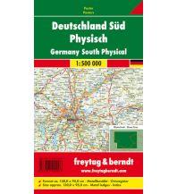 Deutschland Süd physisch, 1:500.000, Poster metallbestäbt Freytag-Berndt u. Artaria KG Planokarten