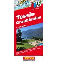 Straßenkarten Tessin und Graubünden Strassenkarte 1:200 000 Hallwag Verlag