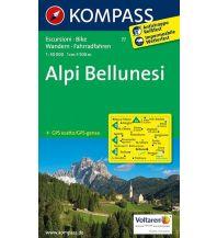 Wanderkarten Südtirol & Dolomiten Kompass-Karte 77, Alpi Bellunesi 1:50.000 Kompass-Karten GmbH