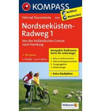 Radkarten Kompass-Fahrrad-Tourenkarte 7049, Nordseeküstenradweg, Teil 1, 1:50.000 Kompass-Karten GmbH