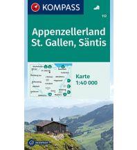 Wanderkarten Nordostschweiz Kompass-Karte 112, Appenzellerland, St. Gallen, Säntis 1:40.000 Kompass-Karten GmbH