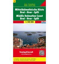 f&b Straßenkarten freytag & berndt Auto + Freizeitkarte Kroatien Blatt 3, Mitteldalmatinische Küste, Brac - Hvar - Split 1:100.000 Freytag-Berndt und ARTARIA