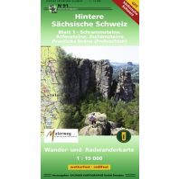 Wanderkarten Hintere Sächsische Schweiz, Blatt 1 - Schrammsteine, Affensteine, Zschirnsteine 1:15.000 Landesamtvermessungsamt Sachsen