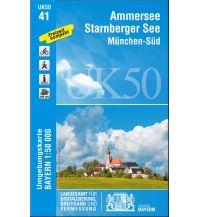 Wanderkarten Bayern UK50-41 Ammersee, Starnberger See, München-Süd 1:50.000 Bayerisches Landesamt für Digitalisierung, Breitband und Vermessung