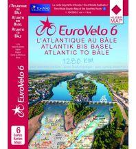 Radkarten EuroVelo-Radkarte - EuroVelo 6 - vom Atlantik bis zum Rhein per Rad 1:100.000 Huber Verlag