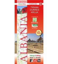 Wanderkarten Balkan Albania hiking & biking Map 5, Tirana, Durrës, Kruja 1:50.000 Huber Verlag