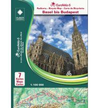 Radkarten EuroVelo 6 Radkarten-Set Basel bis Budapest 1:100.000 Huber Verlag