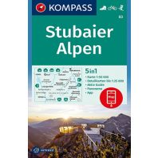 Wanderkarten Tirol Kompass-Karte 83, Stubaier Alpen 1:50.000 Kompass-Karten GmbH