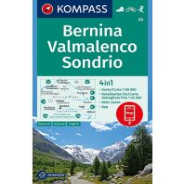 Wanderkarten Kompass-Karte 93, Bernina, Valmelenco, Sondrio 1:50.000 Kompass-Karten GmbH
