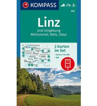 Wanderkarten Oberösterreich Kompass-Kartenset 202, Linz und Umgebung, Mühlviertel 1:50.000 Kompass-Karten GmbH