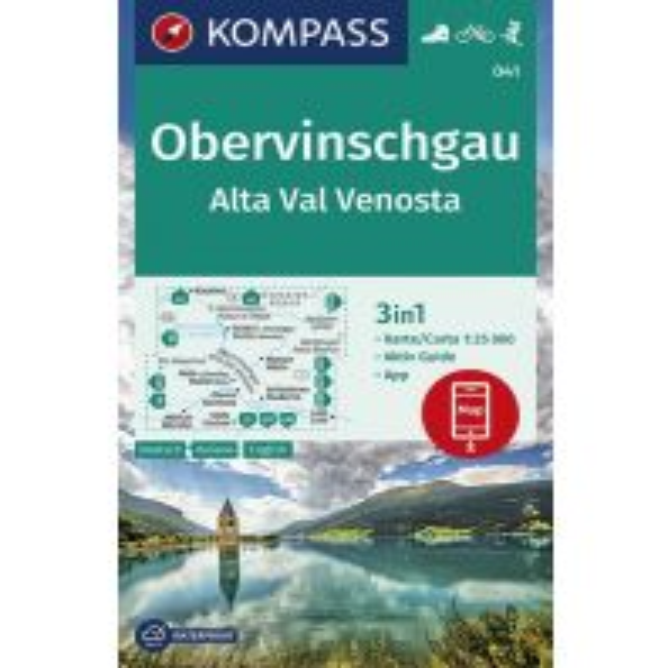 Wanderkarten Südtirol & Dolomiten Kompass-Karte 041, Obervinschgau/Alta Val Venosta 1:25.000 Kompass-Karten GmbH