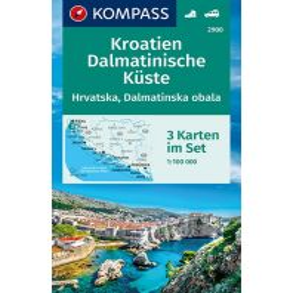 Wanderkarten Serbien & Montenegro Kompass-Kartenset 2900, Kroatien - Dalmatinische Küste 1:100.000 Kompass-Karten GmbH