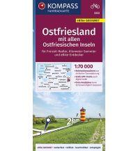 Radkarten Kompass-Fahrradkarte 3322, Ostfriesland mit allen Ostfriesischen Inseln 1:70.000 Kompass-Karten GmbH