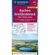 Radkarten Kompass-Fahrradkarte 3324, Aachen, Dreiländereck, Eifel, Hohes Venn 1:70.000 Kompass-Karten GmbH