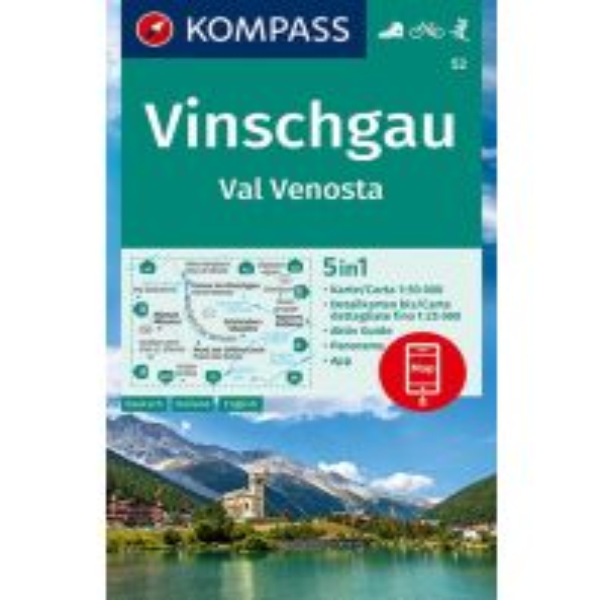 Kompass-Karte 52, Vinschgau/Val Venosta 1:50.000 Kompass-Karten GmbH