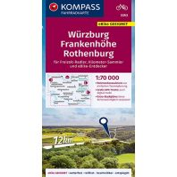 Kompass-Fahrradkarte 3353, Würzburg, Frankenhöhe, Rothenburg 1:70.000 Kompass-Karten GmbH