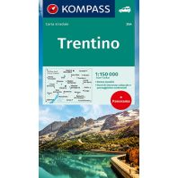 Straßenkarten Italien Kompass Autokarte mit Panorama 354 Italien Alpin - Trentino 1:150.000 Kompass-Karten GmbH