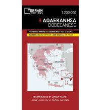 Straßenkarten Griechenland Terrain Map 9, Dodecanese/Dodekanes 1:200.000 Terrain