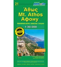 Wanderkarten Griechisches Festland Road Hiking Map & Guide 21, Mt. Áthos 1:30.000 Road Editions