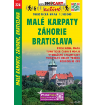 Radkarten SHOcart Tourist Map 224, Malé Karpaty/Kleine Karpaten, Záhorie, Bratislava/Pressburg 1:100.000 Shocart