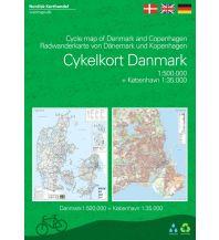 Radkarten Radwanderkarte von Dänemark und Kopenhagen 1:500.000/1:35.000 Nordisk Korthandel