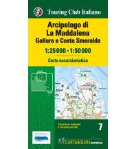 Wanderkarten Italien TCI carta escursionistica 7, Arcipelago di La Maddalena, Gallura e Costa Smeralda 1:50.000 Touring Club Italiono