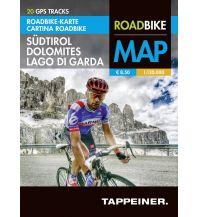 Rennradführer Roadbike-Karte Südtirol, Dolomites/Dolomiten, Lago di Garda/Gardasee 1:120.000 Tappeiner Karten