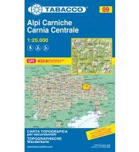 Mountainbike-Touren - Mountainbikekarten Tabacco-Karte 09, Alpi Carniche/Karnische Alpen, Carnia Centrale 1:25.000 Casa Editrice Tabacco