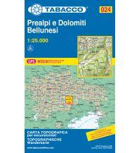Wanderkarten Südtirol & Dolomiten Tabacco-Karte 024, Prealpi e Dolomiti Bellunesi 1:25.000 Casa Editrice Tabacco