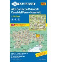 Wanderkarten Kärnten Tabacco-Karte 018, Alpi Carniche Orientali, Canal del Ferro, Nassfeld 1:25.000 Casa Editrice Tabacco