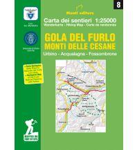 Monti Editore Wanderkarte 08, Gola del Furlo, Monti delle Cesane 1:25.000 Istituto adria