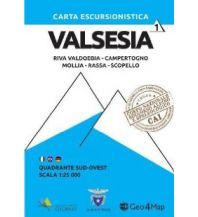 Wanderkarten Italien Geo4Map Wanderkarte 1, Valsesia Quadrante Sud-Ovest 1:25.000 Geo4map