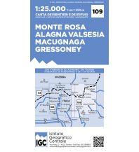 Wanderkarten Italien IGC Wanderkarte 109, Monte Rosa, Alagna, Macugnaga, Gressoney 1:25.000 Istituto Geografico Centrale