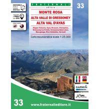 Fraternali Wanderkarte 33, Monte Rosa, Alta Valle di Gressoney, Alta Val d'Ayas 1:25.000 Fraternali Editore