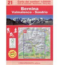 Skitourenkarten Escursionista-Karte 21, Bernina, Valmalenco, Sondrio 1:25.000 L'Escursionista